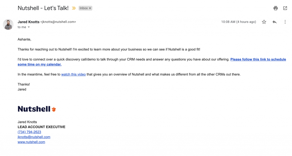 A personal email as part of an automated sales email sequence.