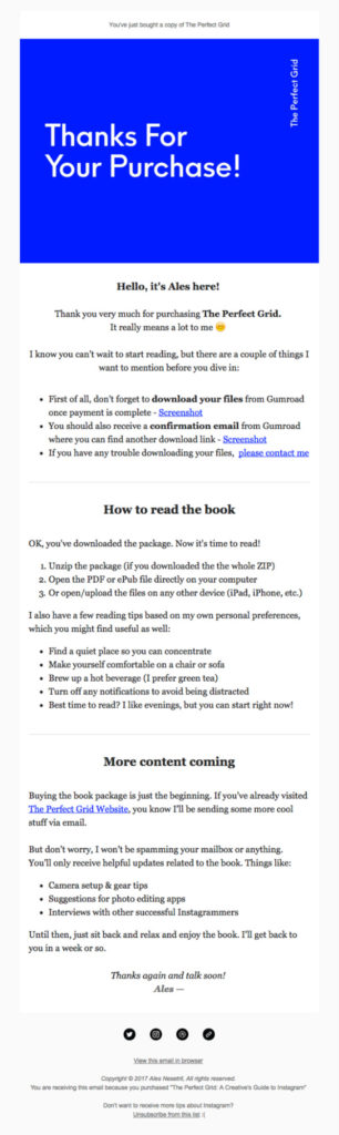 The Perfect Grid email example