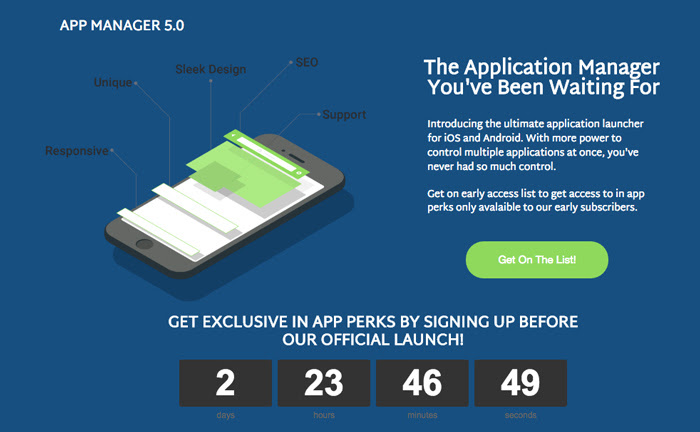 Screenshot of App Manager's landing page