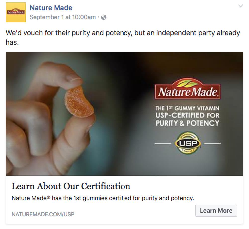 Nature Made Facebook post