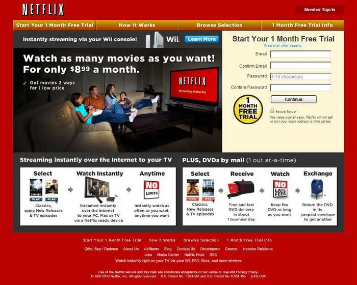 Screenshot of original Netflix home page