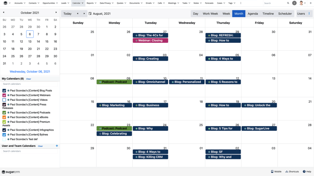 The Calendar module has been converted from the legacy user interface to the Sidecar interface and offers more robust calendaring options.